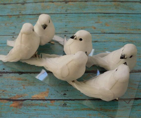 Oiseaux artificiels six oiseaux blanc d coratif sur clips for Oiseaux artificiels de decoration
