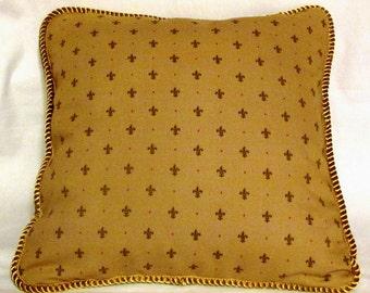 French Country Romantic Cottage Pillow Parisian Gold on Gold Fleur De Lis