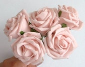 Bunch of 5 Half Open Foam Roses -  Light Pink