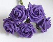 Bunch of 5 Half Open Foam Roses - Purple