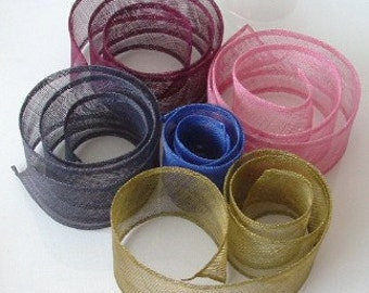 Lot of 5 Sinamay Trim  Small - Assorted Colours
