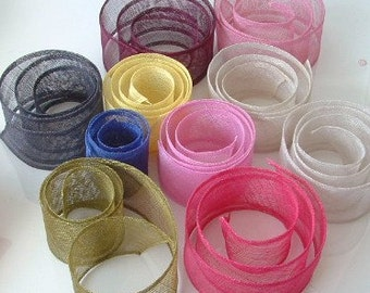 Lot of 20 Sinamay Trim  4cm x160  - Assorted Colours