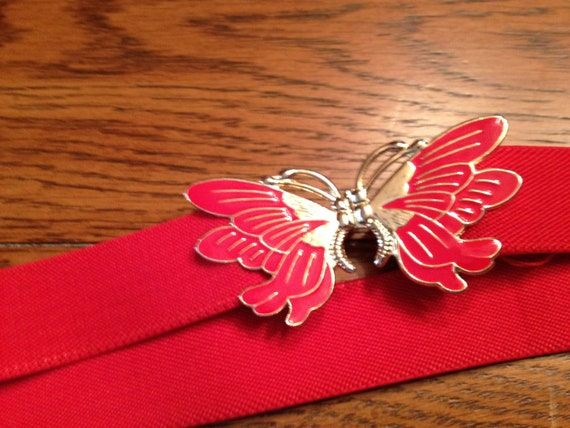 Pair of Vintage Belts Red Elastic with Butterfly Closure and Woodened Beaded with Coin Accents