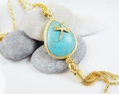 Long Teardrop Tassel Turquoise Necklace - Dragonfly - 23 inch chain