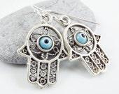 Hamsa - Hand of Fatima Dangly Earrings - Pale Blue Lucky & Protective Artisan Glass Evil Eye - Nazar