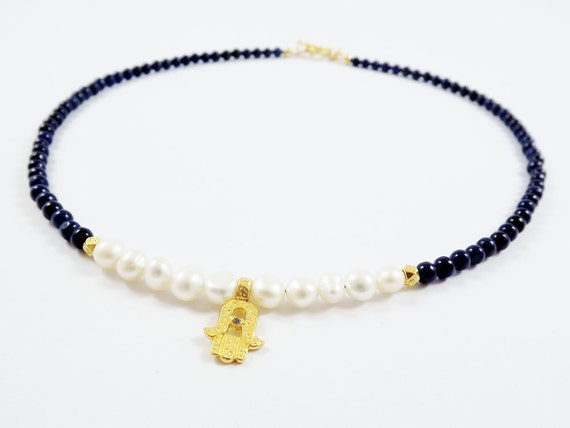 Delicate Hamsa Charm Necklace with Navy Blue Jade Beads & Freshwater Pearls