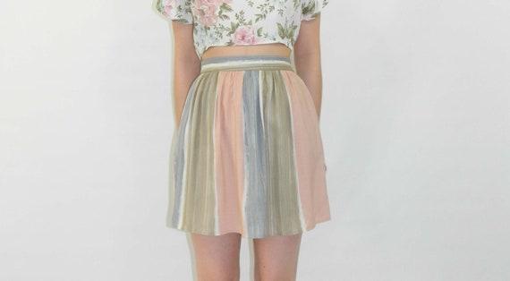 Striped Skirt Gathered Mini Skirt Small