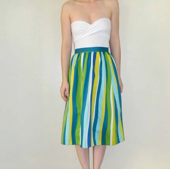 RESERVED 1950s Striped Skirt Green Blue Size Large SALE