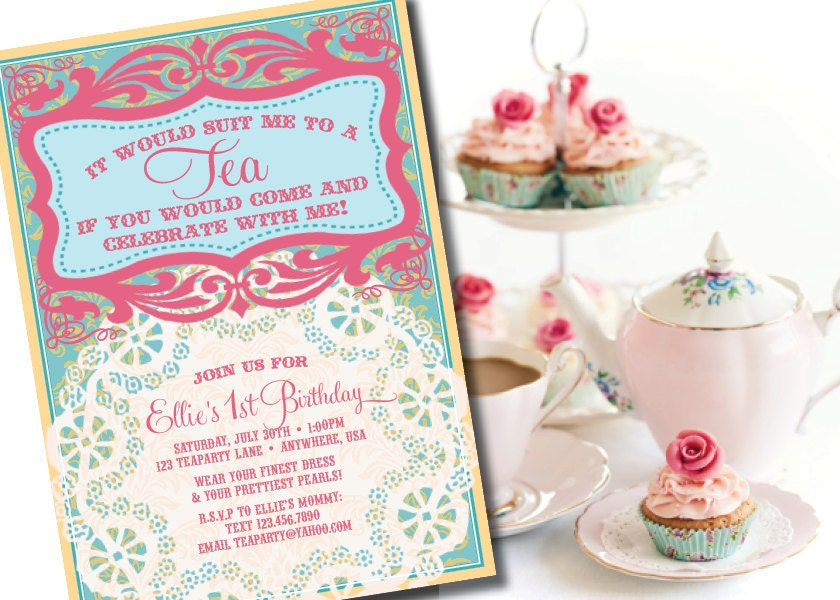 DIY Printable Vintage Tea Party Birthday Invitation – Handmade Tea Party Invitations
