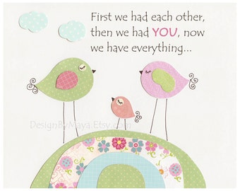Baby girl, Nursery wall art print, Baby room decor, love birds, match to the colors of Hayley bedding, pink, aqua,blue