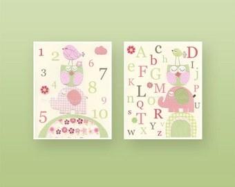 Kids Wall Art, Nursery Art Print, Baby Girl Nursery Art, Hayley bedding set, Colors Pink green, Set of 2 prints,Alphabet art abc, number art