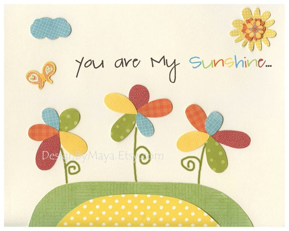 You Are My Sunshine Art For Nursery Room // Baby Nursery Room decor // Inspiring Print Nursery Decor // in Green, Blue, Red, Yellow