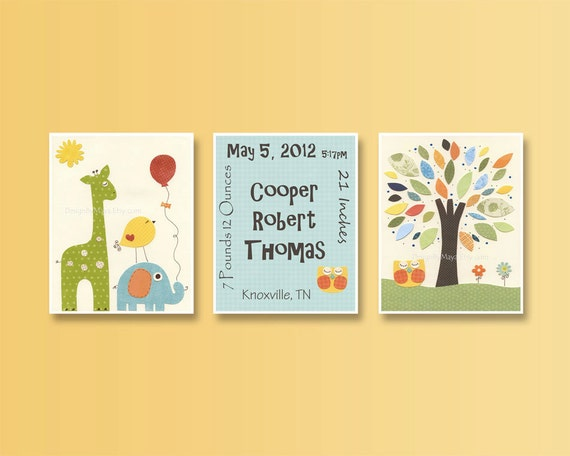 Birth Stats for Baby boy, Nursery Art Decor, Kids Print, Set of 3 8x10 Prints, tree, baby owl, orange, blue, green and yellow