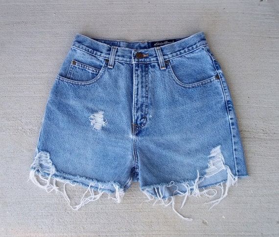 "CLEARANCE SALE - Distressed Shorts Slashed Denim Cut Offs - US Size 5/6 - 26"" Waist   -  Priority Shipping"