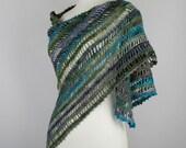 crochet shawl purple gray green black lace triangle wrap neckwarmer scarf autumn winter for her wool light multicolor stripes