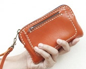 Sale, Hand Sewn Leather Wristlet Pouch in Orange