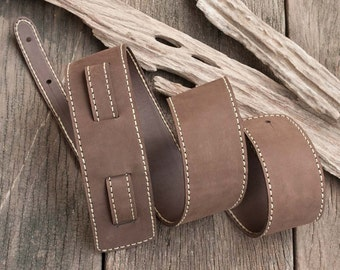 Sale, Hand Sewn Leather Guitar Strap in Dark Brown