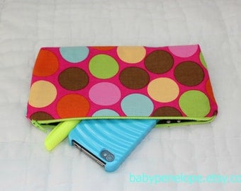 Clearance*** Pencil Case/Cosmetic Bag/ Gadget Case - Enchanted Forest Dot  - Ready to Ship