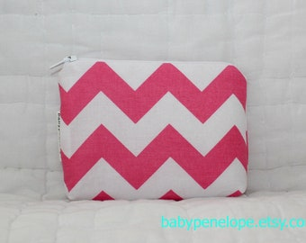 Padded Cosmetic Bag/ Gadget Case - Pink Chevron