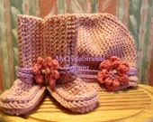 Buggs-  Crocheted Baby Hat and Booties, in Soft Pink w/ Detachable Pink and Lilac Flowers