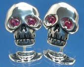 Skull Earrings, Natural Ruby Eyes, July birthstone, Hand Crafted Recycled Sterling Silver