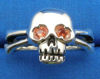 Skull Ring, Natural Orange-red Padparadscha Sapphire Eyes, Hand Crafted Recycled Sterling Silver