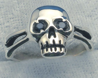 Skull and Cross Bones Ring, Blue Sapphire Eyes, Sterling Silver