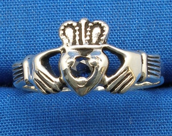 Blue Sapphire Claddagh Ring, Hand Crafted Sterling Silver Celtic Ring, September Birthstone