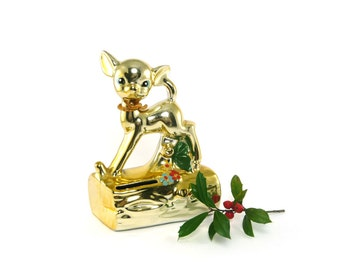 Golden deer bank - shiny gold tone painted fawn bank Christmas decor
