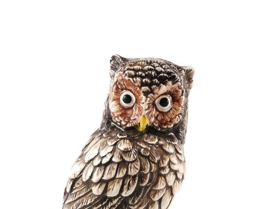 Vintage ceramic owl figurine - brown owl on a branch