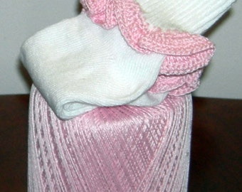 Toddler Size 3 - 8.5 In The Pink Crocheted Ruffle Trim Socks - Ages  2 to 3 Years