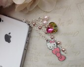 Phone dust plug iphone dust plug phone charm- Hello Kitty alloy Pink Bow and faux pearl chain