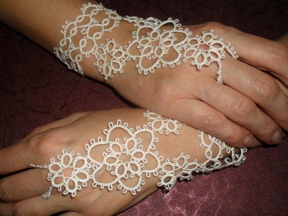 Bridal Pair of Tatted Slave Bracelets - Frivolite Lace White Gloves