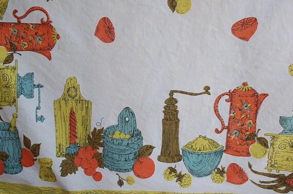 Vintage farm kitchen rectangle tablecloth cotton tablecloth Retro 50s