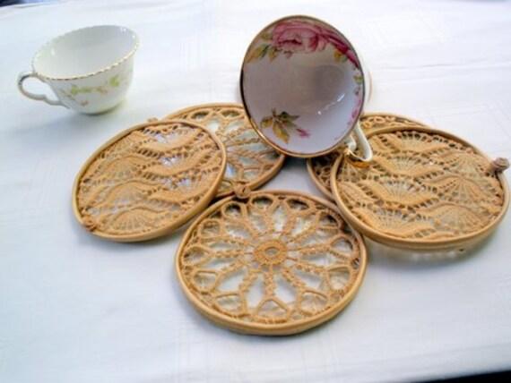 Reserve order for Michelilna-Cup Coaster set.  antique lace elegant cups  Set of 6 elegant pieces by Mintook. Cup Coaster set. Vintage whi