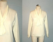 Vintage blouse CREAM ASCOT long sleeved secretary - S/M