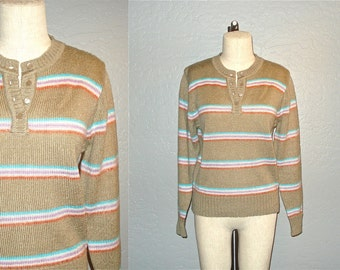 Vintage 80's sweater taupe and TAFFY COLOR striped henley - M