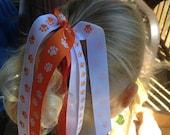 CLEMSON Cheerleader Ponytail Holder, Orange White Paw Print Ponytail Streamer, Clemson Tiger Ponytail Accessories, Auburn Tigers