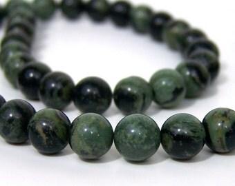 8mm Kambaba Jasper beads, round natural green gemstone, full & half strands available  (549S)
