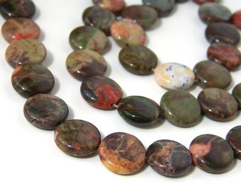 Sierra Agate gemstone beads, 12mm coin bead, 8 inch strand (561S)