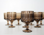 Vintage Glass Goblets -  Set of 8  Brown  Smoke Glasses