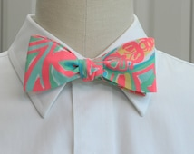 Lilly Bow Tie in neon coral Make a splash (self-tie)
