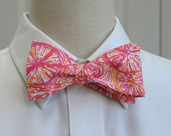 Men's Bow Tie, pink and orange bicycle Ten Speed Lilly print, wedding bow tie, groom bow tie, groomsmen gift, prom bow tie, bicycle bow tie