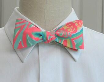 Men's Bow Tie, neon coral, aqua Make a Splash Lilly print bow tie, beach bow tie, wedding bow tie, groom bow tie, groomsmen gift, prom tie