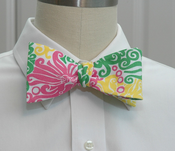 """Men's Bow Tie in Lilly """"Dandilion"""" in pink, yellow and green"""