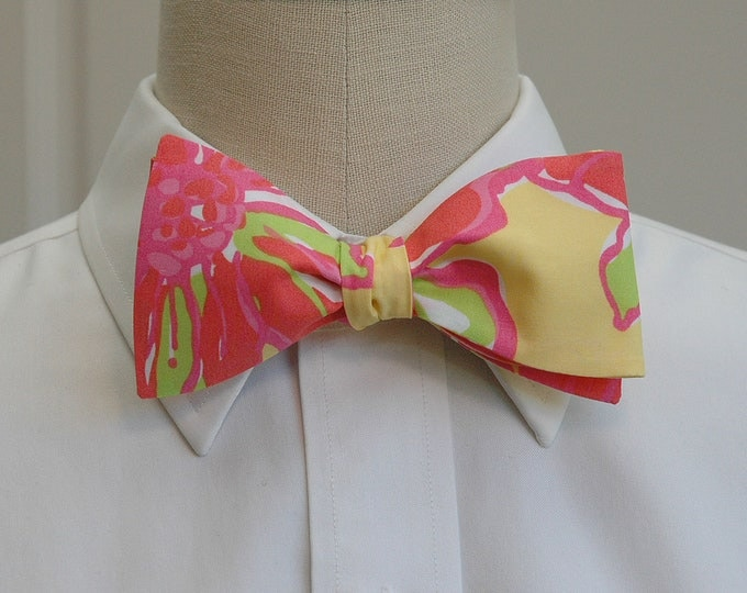 Men's Bow Tie, Uncontainable yellow/coral/lime Lilly print bow tie, wedding bow tie, groom/groomsmen bow tie, prom bow tie, tux accessory