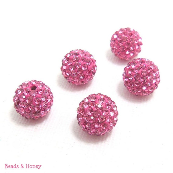 Crystal Pavé Style Bead, Pink, Round, Disco Ball, 10mm, 1pc - ID 1127