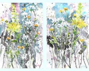 Diptych No.6 flowers, limited edition of 50 fine art giclee prints from my original watercolor