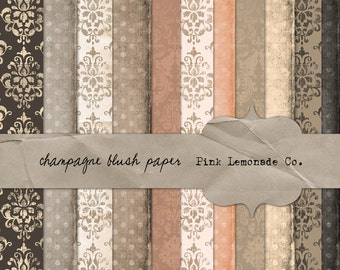 Champagne Blush Paper Pack Eleven Papers Digital Textured scrapbook wedding invitations birthday card cardmaking graphics websites supplies