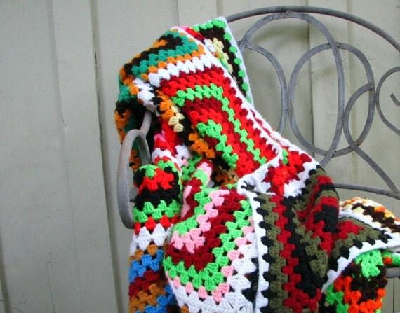 really beautiful crocheted afghan -- rainbow vintage bedspread size -- handmade folk art goodness